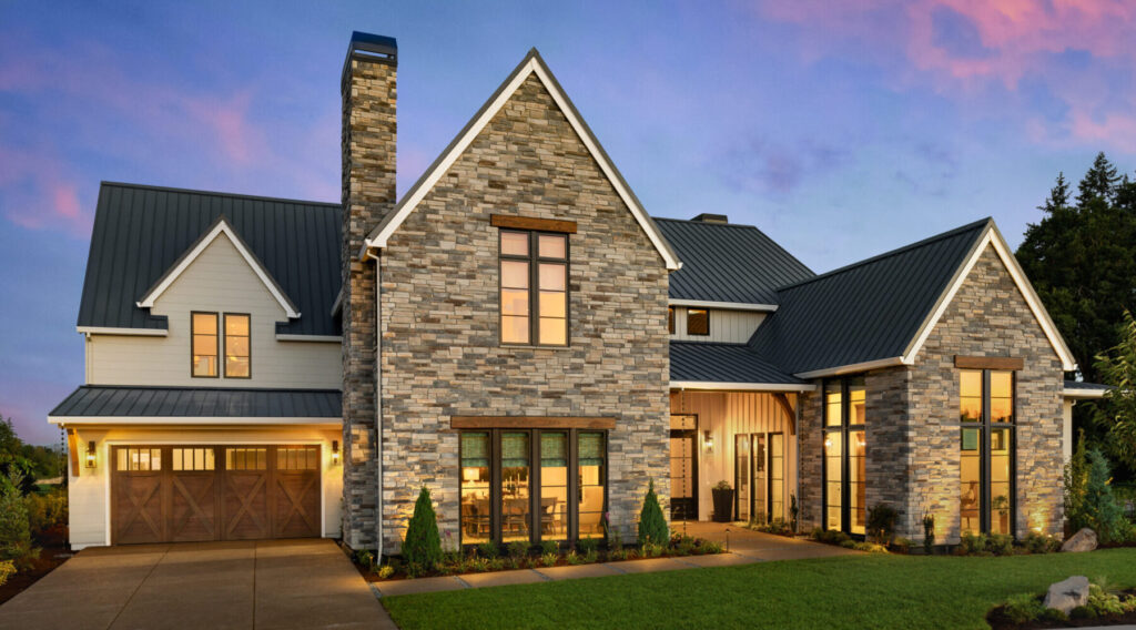 Echo Ridge Country Ledgestone Cultured Stone by Boral - Installed on teh front of a beautiful home